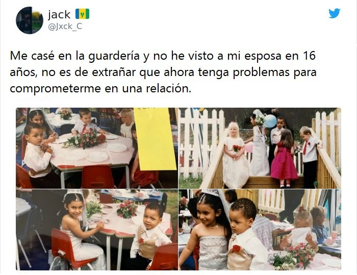 Tuit sobre niños en una boda falsa de preescolar
