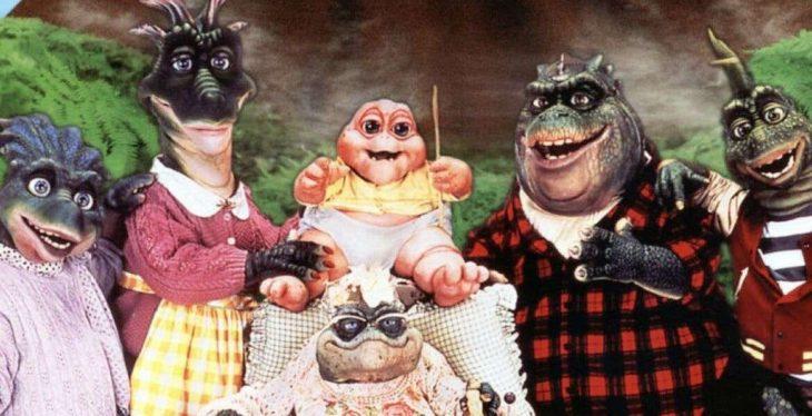 Familia Sinclair de Dinosaurios juntos en una fotografía