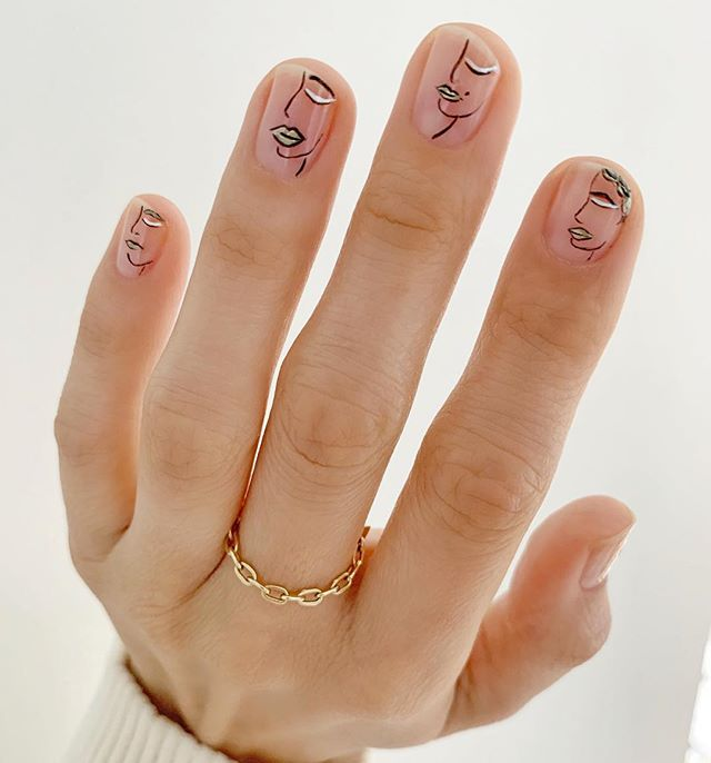 Betina Goldstein Nail Designs with Minimalist Faces