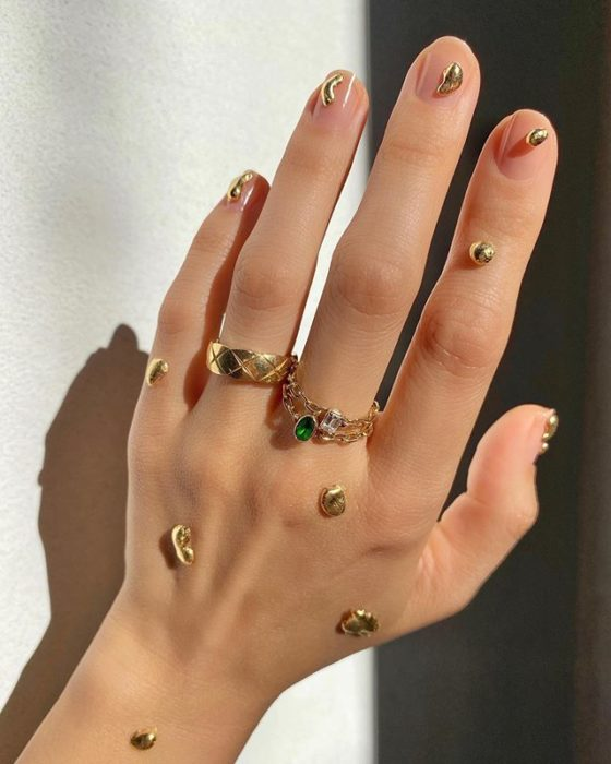 Betina Goldstein Nail Designs With Golden Drops On Nails
