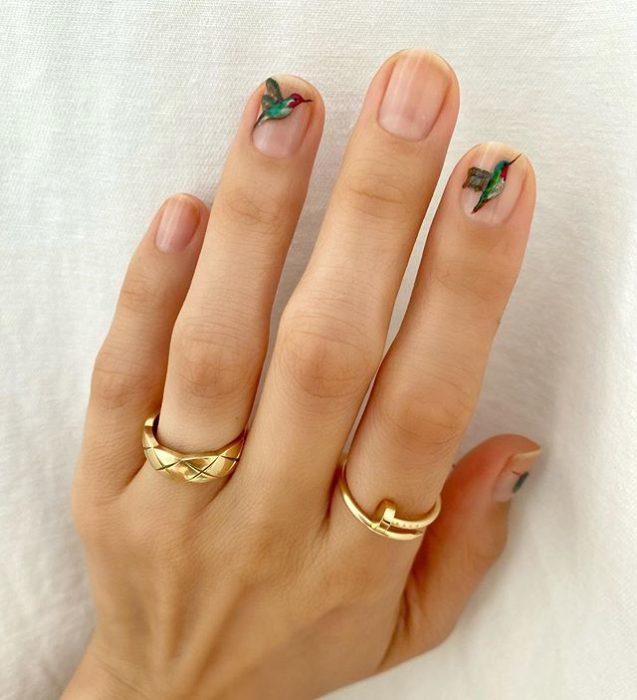 Diseños de uñas de Betina Goldstein con colibries de colores en cada tercer dedo
