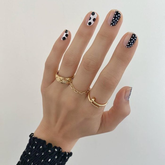 Betina Goldstein Black and White Dot Nail Designs