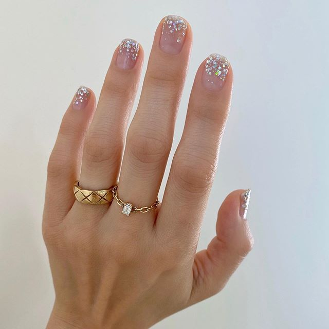 Betina Goldstein nail designs with gray glitter