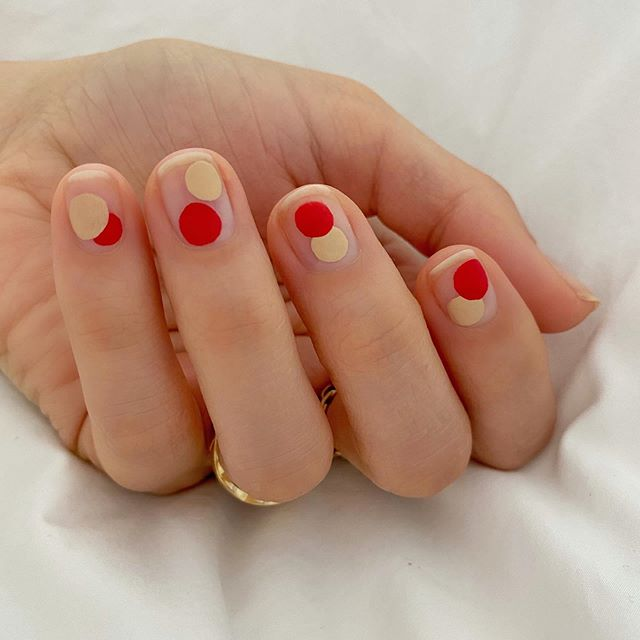 Betina Goldstein Nail Designs with Gold and Red Dots