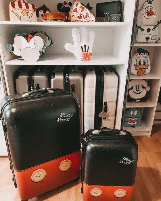 Travel suitcases with Mickey Mouse design