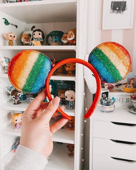 Mickey Mouse ears in rainbow colors