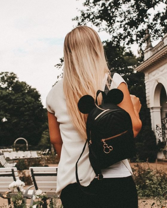 Black backpack with Minnie ears
