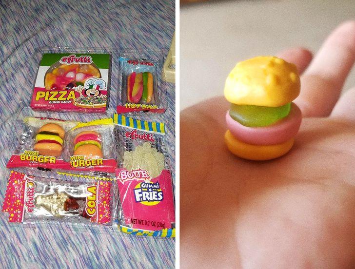 Gomas de caramelo en forma de comida rápida