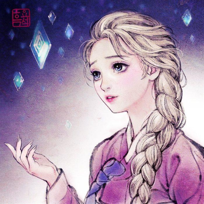 Ilustración digital de Elsa de Frozen