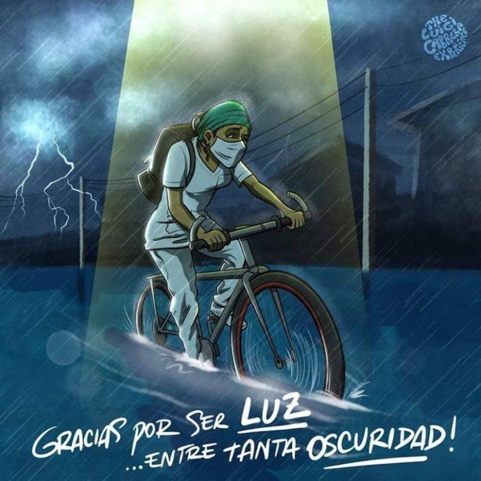 Ilustración de una enfermera manejando su bicicleta mientras llueve y las calles están inundadas
