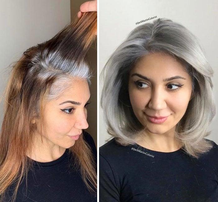 Chica con cabello rojizo y raíz de canas, antes y después de ser teñido en plateado