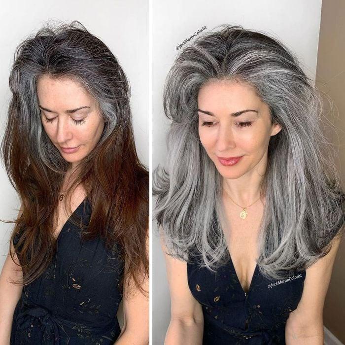 Chica antes y después de teñir su cabello en tono gris