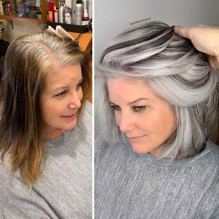 Mujer mostrando su cambio de look de castaño dorado a gris pateado
