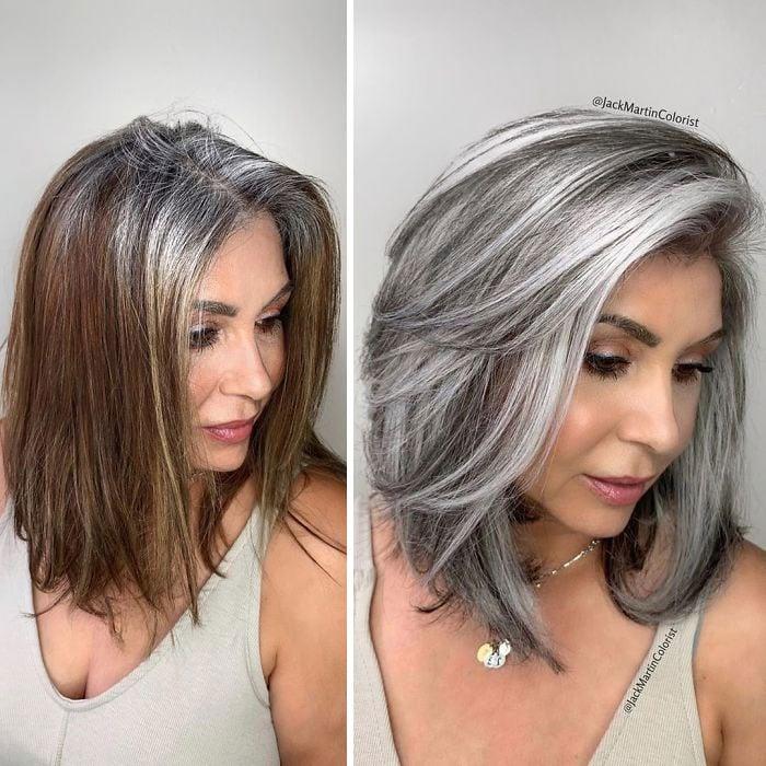 Mujer posando de perfil mostrando su cabellera castaña a gris plateado