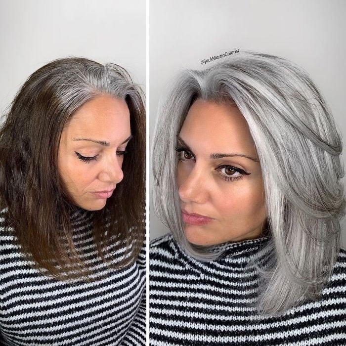 chica mostrando su cabello con canas antes y después de ser teñido