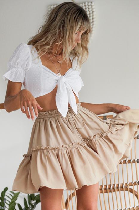 Summer beige skirt with ruffles