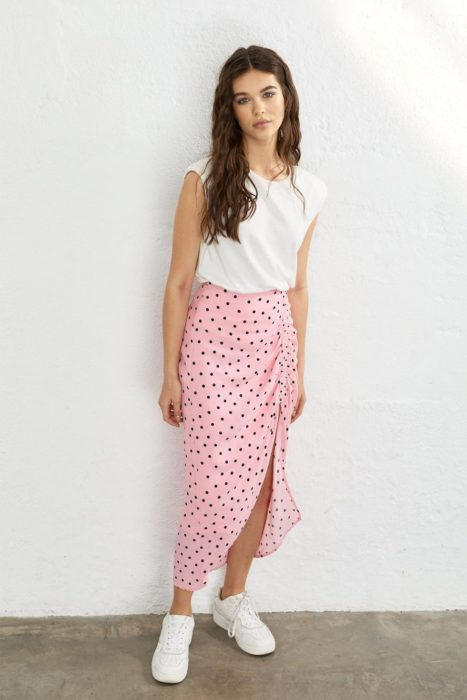 Pink summer skirt with small flowers