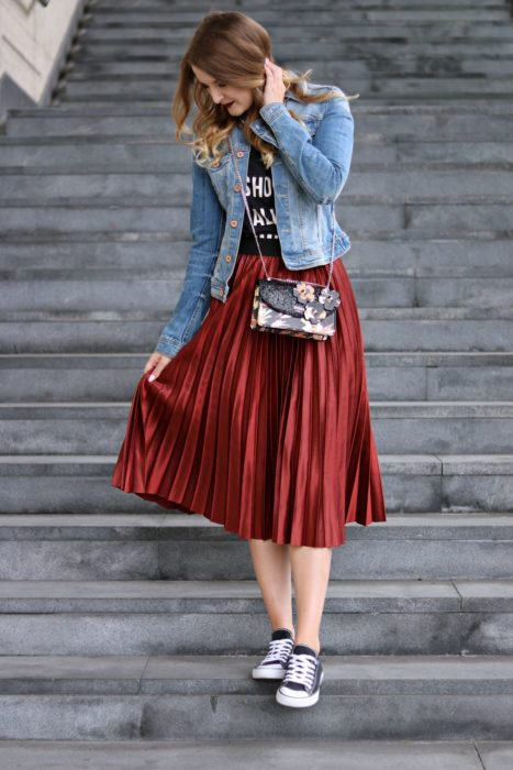 Summer maxi skirt wine color