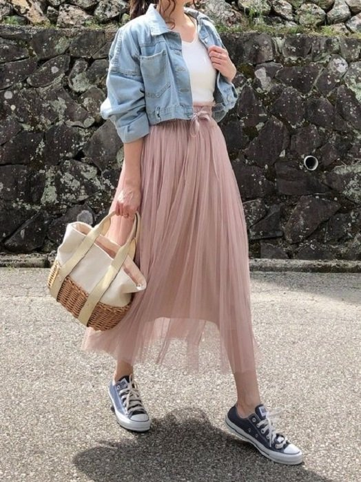 Pale pink vaporous summer skirt