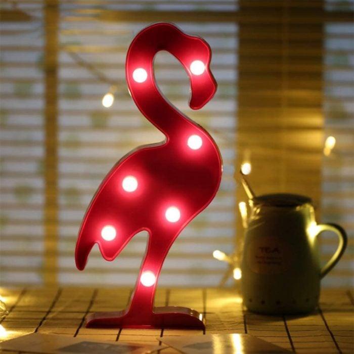 Lampara de flamingo con luz led