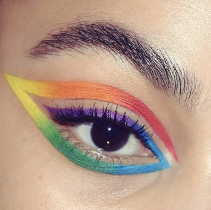 Outlined rainbow style in blue, purple, yellow, orange colors in circular shape