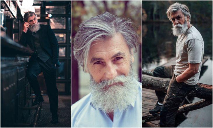 Philippe Dumas modelando su barba en color blanco con canas