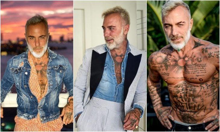 Gianluca Vacchi posando sin camisa y mostrando sus tatuajes