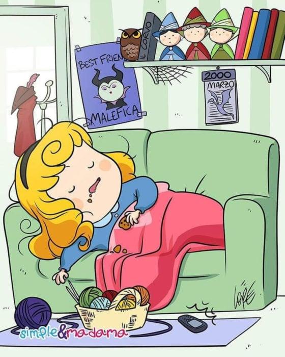 Artista Simple & Madama ilustra a princesas Disney en cuarentena; La bella durmiente, Aurora, durmiendo en el sillón