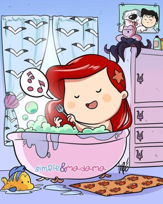 Artista Simple & Madama ilustra a princesas Disney en cuarentena; La sirenita, Ariel, dándose un baño en la bañera