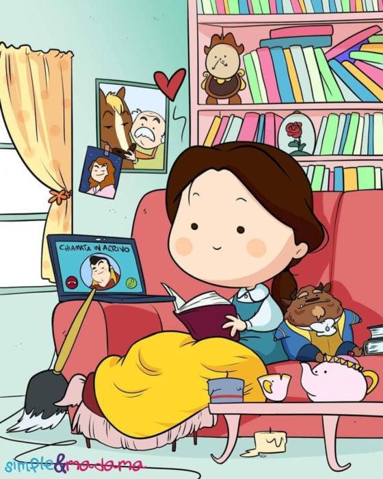 Artista Simple & Madama ilustra a princesas Disney en cuarentena; Bella de La Bella y la Bestia leyendo un libro en el sillón