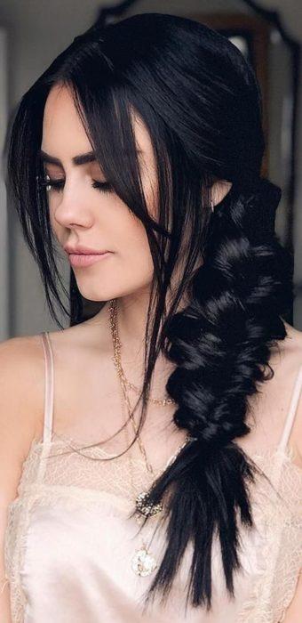 Girl wearing jet black dyed hair
