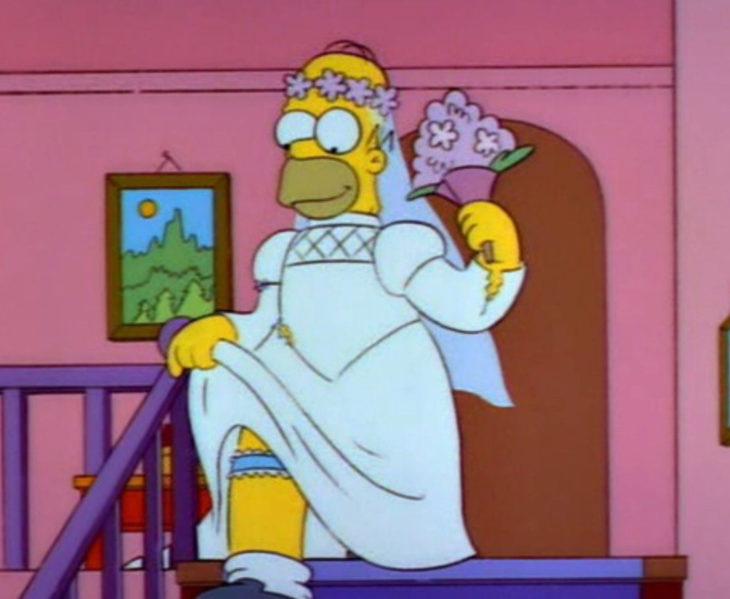 Homero Simpson con vestido de novia