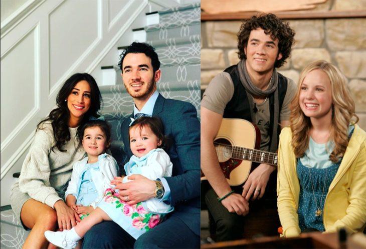 Kevin Jonas cuando actuaba en su adolescencia y ahora que tiene hijos