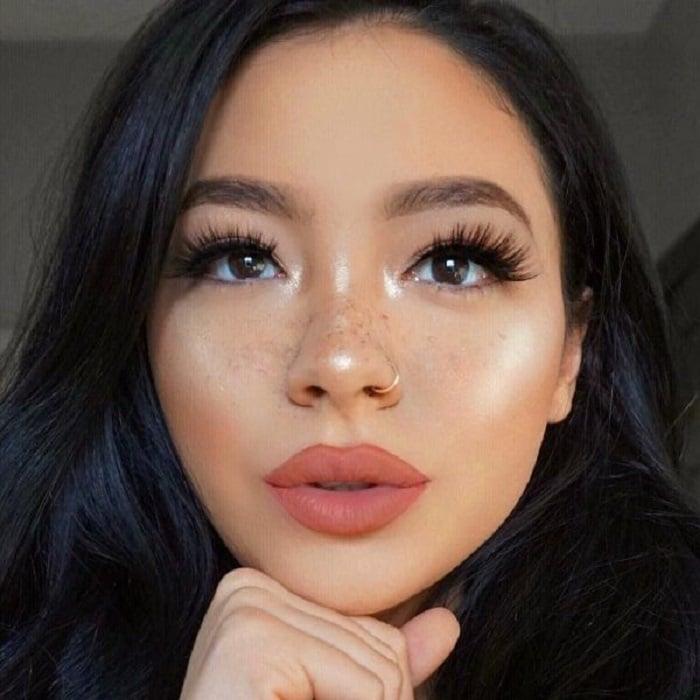 Woman wearing matte lipstick