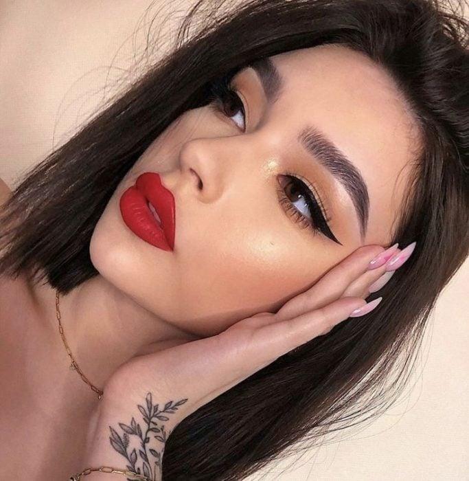 Girl wearing red lipstick