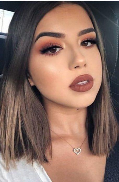 Girl wearing brown lipstick