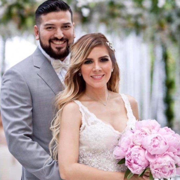 Karla Panini en su boda con Américo Garza