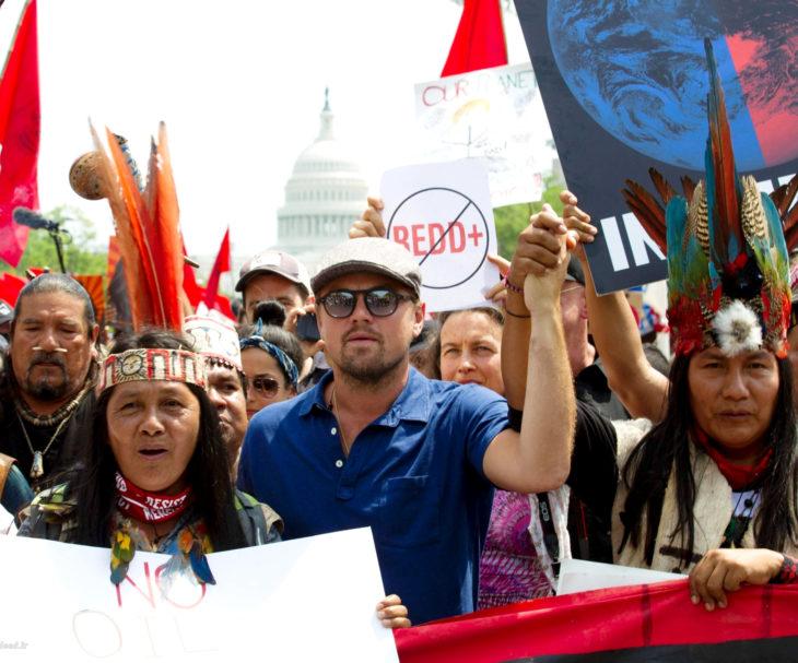 Leonardo DiCaprio en manifestación por el medio ambiente
