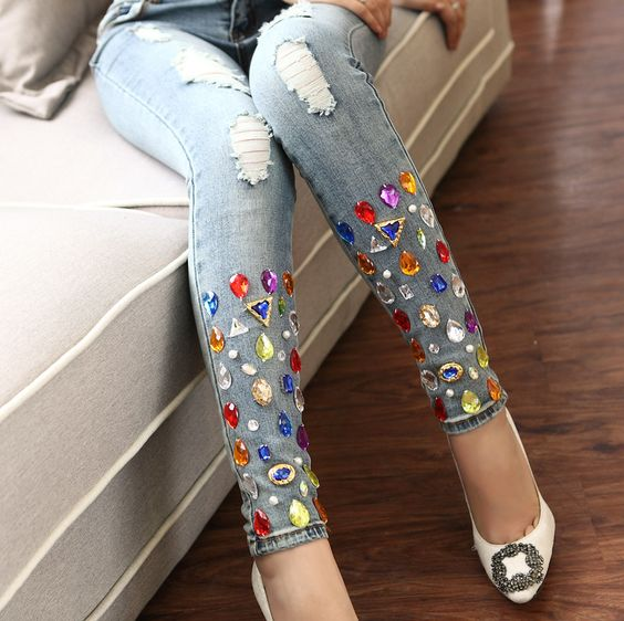 Jeans decorated with colored stones
