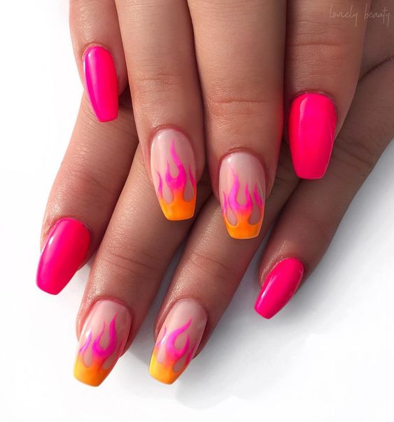 Some with neon pink flames
