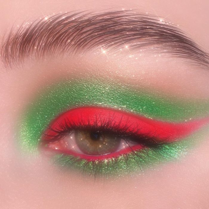 Green and red eye makeup