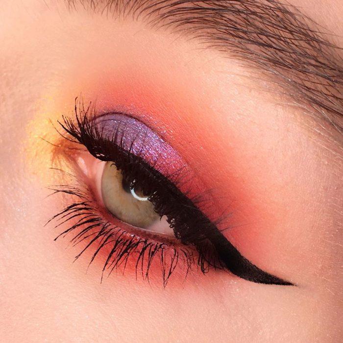 Eye makeup with shiny pastel shades
