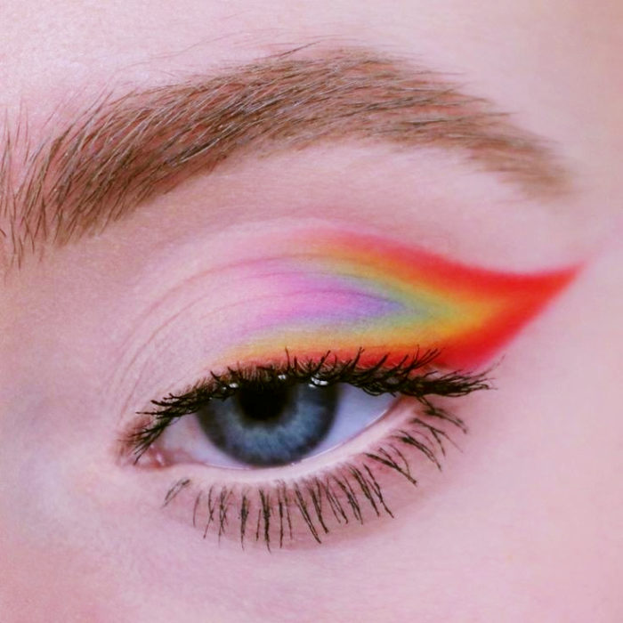 Outlined rainbow cateyes in blue, purple, yellow, orange, pink colors