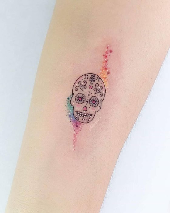 Mini sugar skull tattoo