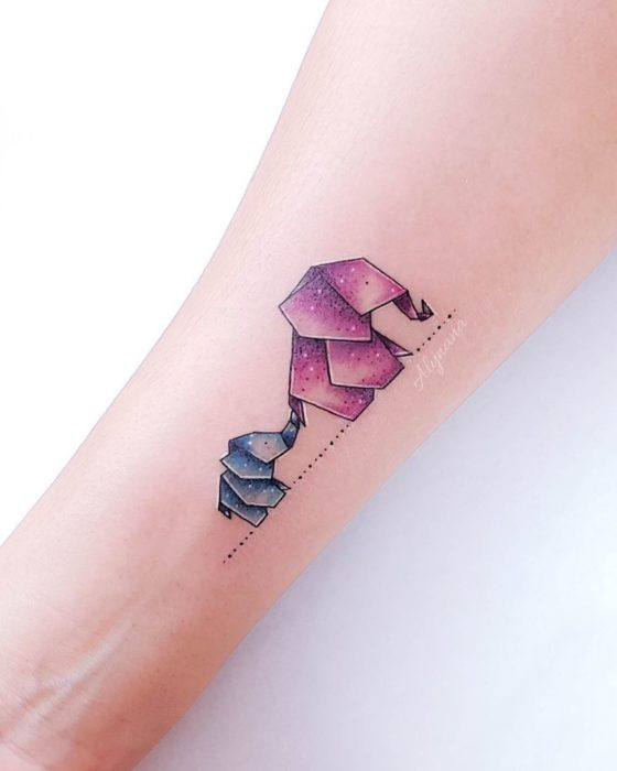 Mini elephant mom and baby tattoo