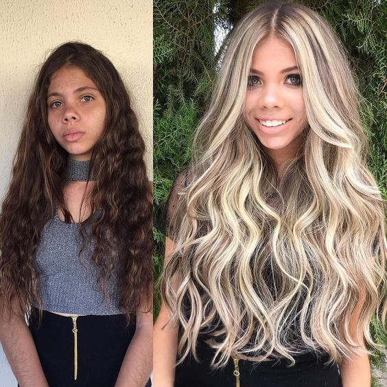Girls go from brunettes to blondes with color effect on hair