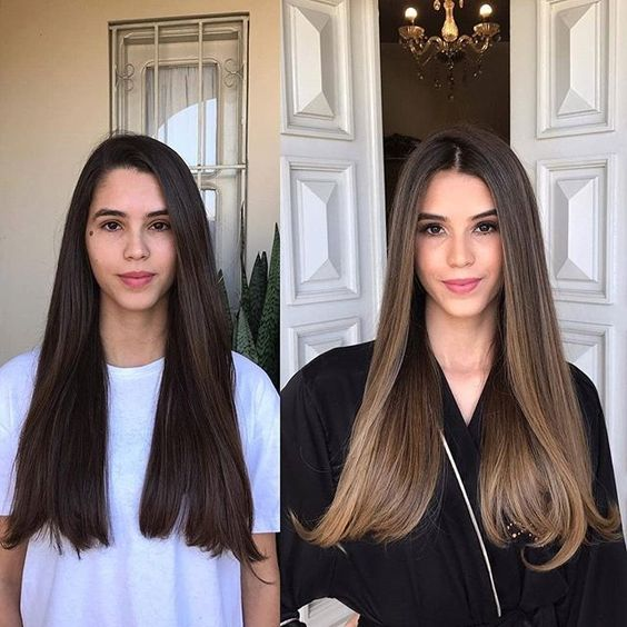 before and after brunette girls with lights in their hair