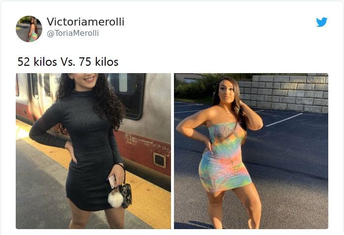 Mujer antes y después de subir de peso con vestido corto de lentejuelas negras y vestido en tonos azules y rosa fucsia