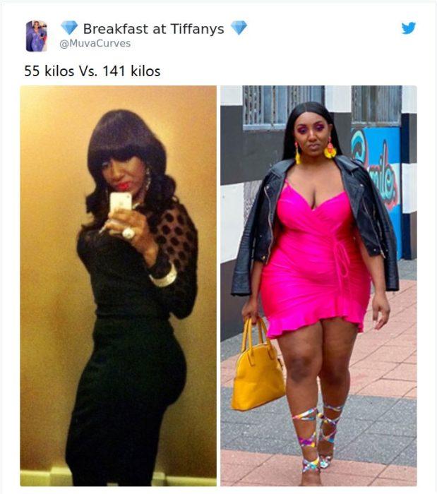 Mujer antes y después de subir de peso, llevando un vestido negro entallada y un vestido rosa fucsia