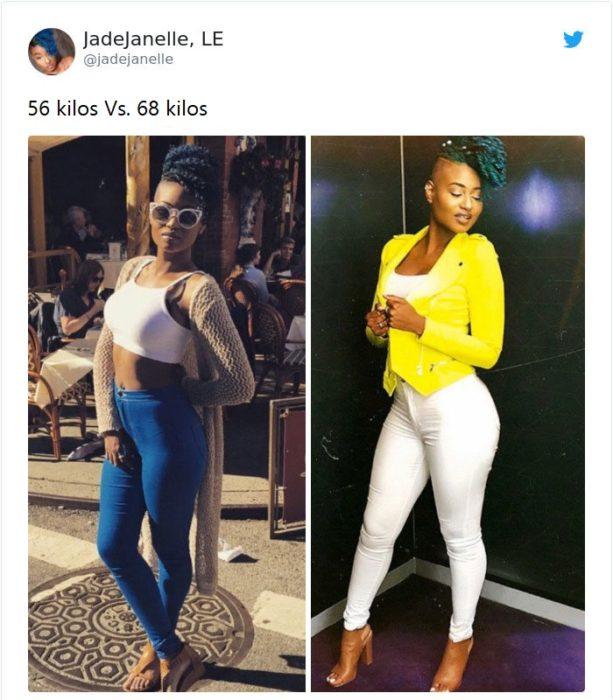 Mujer antes y después de subir de peso llevando tops en tonos blancos y blazer amarillo